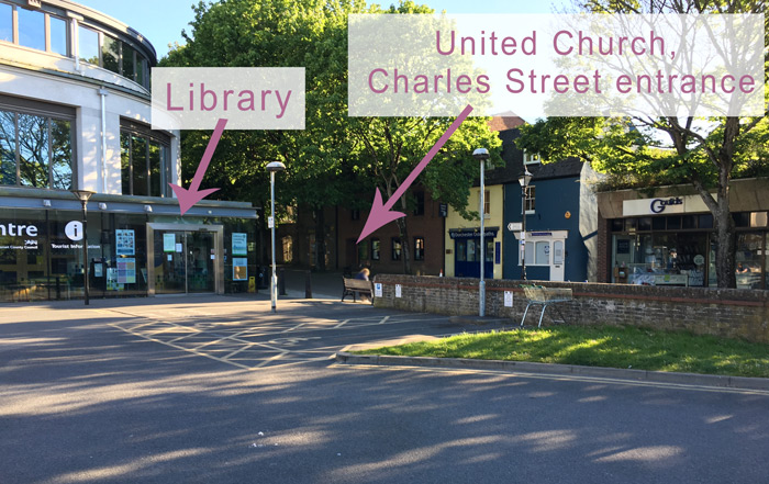 This image shows the entrance to the church is opposite Dorchester Library